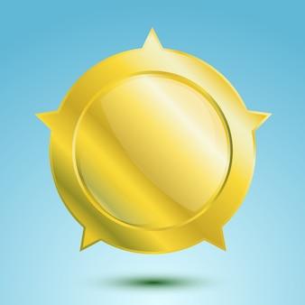Médaille d'or vierge ou insigne vide isolé