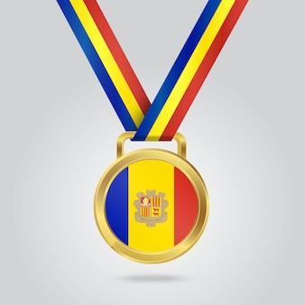 Médaille de la place d'or avec le drapeau d'andorre
