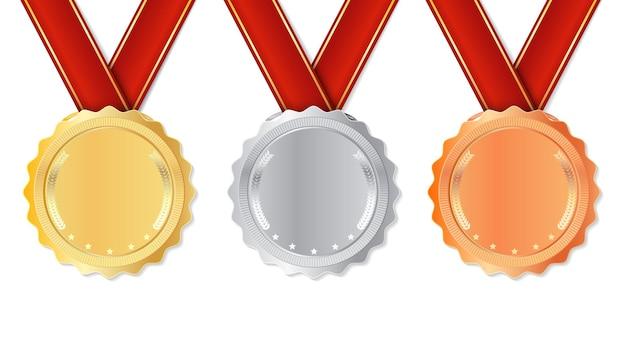 Médaille réaliste sertie de rubans rouges.