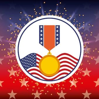 Médaille de récompense et insigne lumineux de drapeau américain
