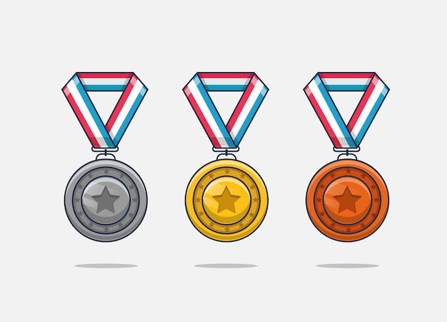 Médailles de bronze argent or