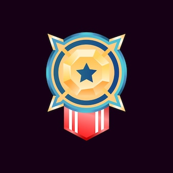 Médailles d'insigne de rang de diamant d'or brillant d'interface utilisateur de jeu arrondi avec ruban de drapeau