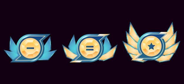 Médailles d'insigne de rang de diamant d'or brillant d'interface utilisateur de jeu de fantaisie avec des ailes