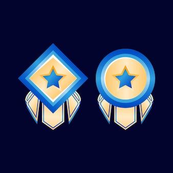 Médailles d'insigne de rang de diamant d'or brillant de jeu d'interface utilisateur avec ruban