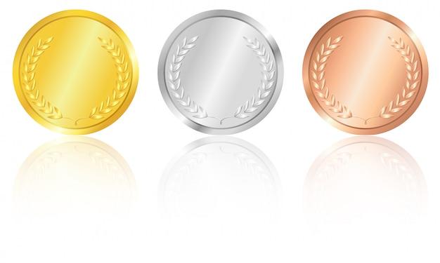 Médailles d'or, d'argent et de bronze.