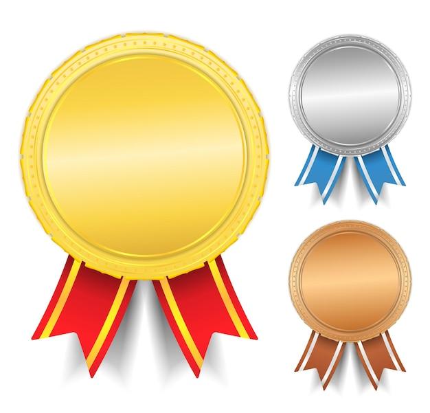 Médailles d'or, d'argent et de bronze,