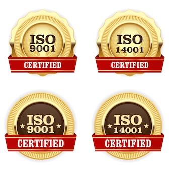 Médailles d'or certifiées iso 9001 - badge standard de qualité