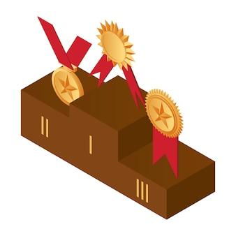 Médailles d'or sur le podium, première, deuxième et troisième place.