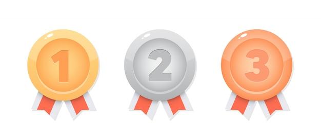Médailles, pièces pour jeu mobile. conception de jeux d'interface utilisateur