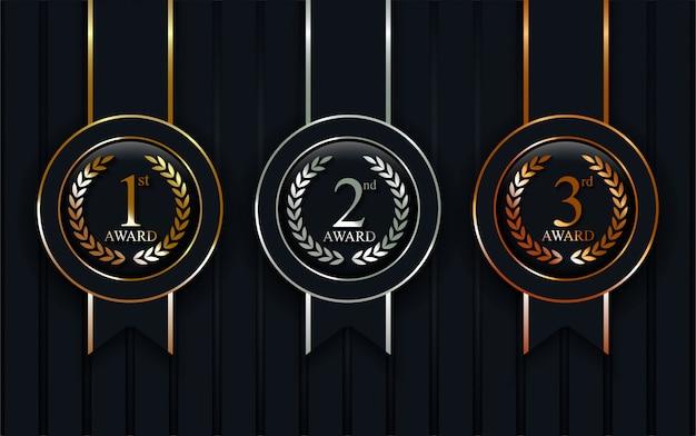 Médailles réalistes or, argent, bronze set vector.