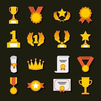 Médailles de trophées de prix et symboles d'icônes de réussite de ruban gagnant
