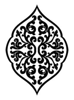Médaillon abstrait pour la conception. motif vectoriel noir sur fond blanc.