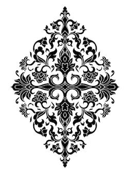 Médaillon floral pour la conception. ornement noir sur fond blanc.