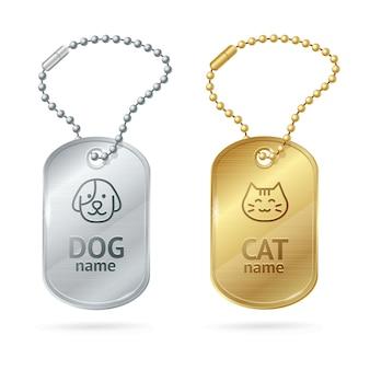 Médaillons ou médaillons d'animaux de chien de chat. animal mignon.
