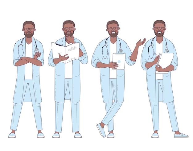 Médecin afro-américain design plat avec jeu de poses et d'actions de caractère stéthoscope.