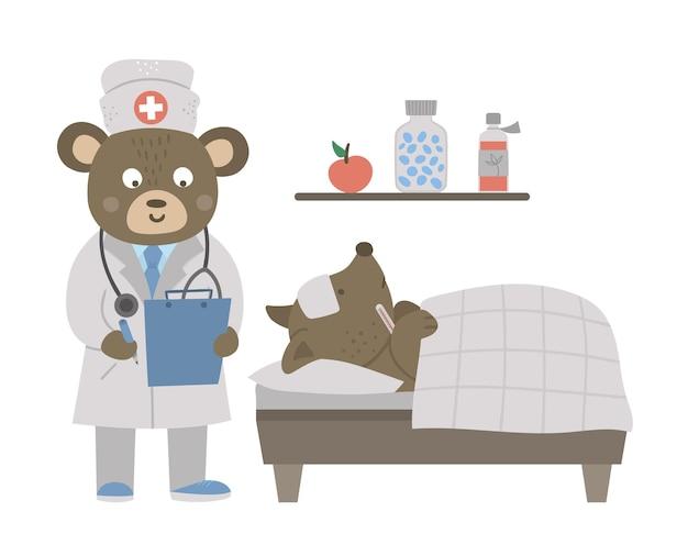 Médecin Animalier Traitant Le Patient Vecteur Premium