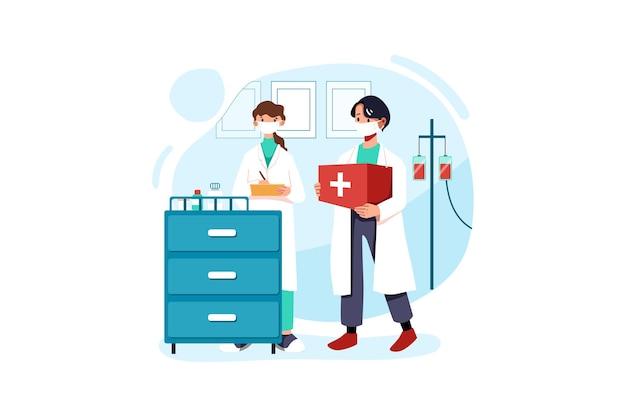 Le médecin apporte le kit de vaccin