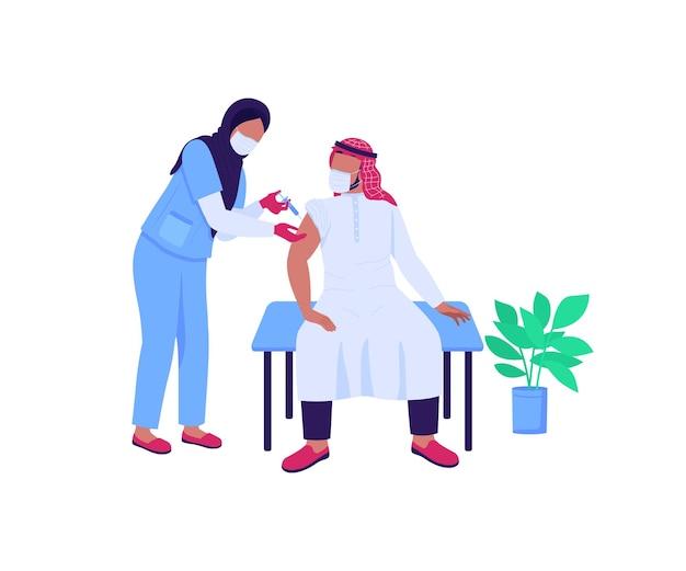 Médecin arabe et caractères sans visage de couleur plat patient