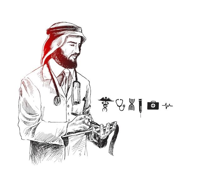 Médecin arabe avec icône médicale, fond de vecteur de croquis dessinés à la main.
