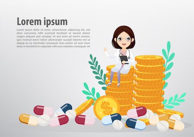 Médecin assis sur les pièces de monnaie, concept d'entreprise et de la santé. modèle de texte