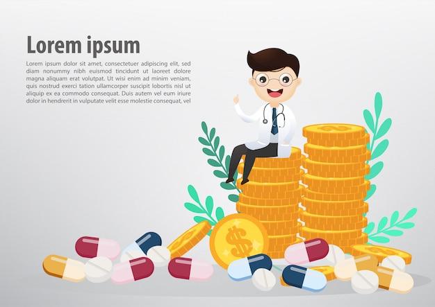 Médecin assis sur des pièces de monnaie, des entreprises et des soins de santé. illustration