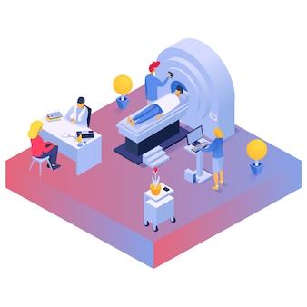Médecin au bureau, dispositifs médicaux d'isométrie dans la salle de la clinique, diagnostic de laboratoire, conception, illustration de style dessin animé.