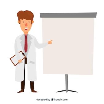 Médecin avec un arrière-plan de presse-papiers