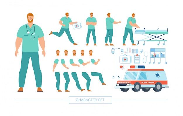 Médecin caractère constructeur plat ensemble