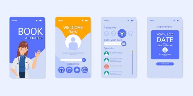 Médecin avec conception d'interface utilisateur d'application de réservation médicale stéthoscope.