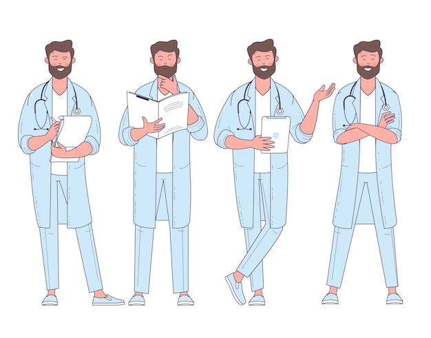 Médecin de conception plate avec des poses et des actions de caractère stéthoscope.