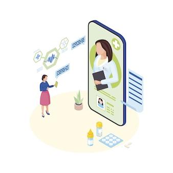 Médecin consultant illustration isométrique en ligne. patient malade expliquant les symptômes au personnage de dessin animé de spécialiste médical à distance. vidéoconférence avec une cliente malade