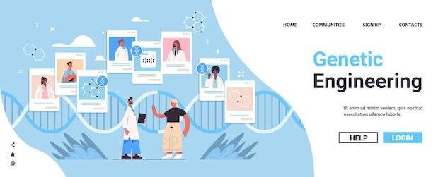 Médecin consultant les patients test adn diagnostic de génie génétique consultation en ligne