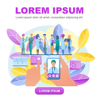 Médecin de consultation en ligne vector illustration