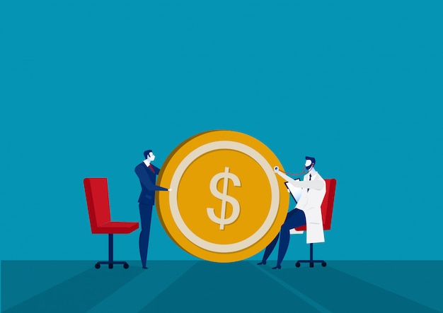 Médecin et contrôle financier des affaires. illustration de l'entreprise.