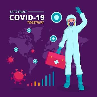 Médecin de covid-19 portant une illustration infographique de costume hazmat
