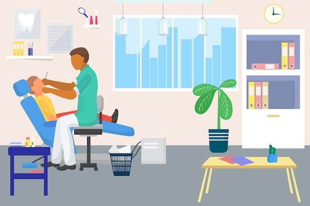 Le médecin dentiste se soucie de la santé bucco-dentaire du patient, illustration vectorielle, bureau de dentisterie dans une clinique dentaire ...