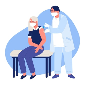Médecin Dessiné à Plat, Injectant Un Vaccin à Un Patient Vecteur gratuit