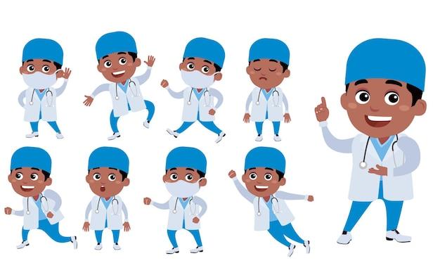 Médecin avec différentes poses