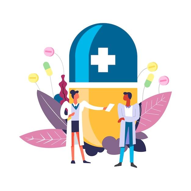 Médecin et docteur en pharmacie avec patient et pilule