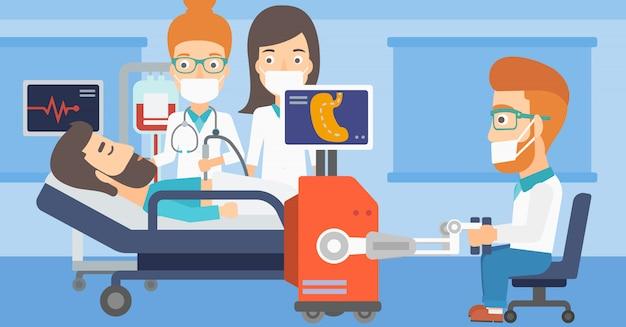 Médecin effectuant une opération impliquant un robot.