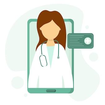 Un médecin effectue une consultation par liaison vidéo soins médicaux à distance