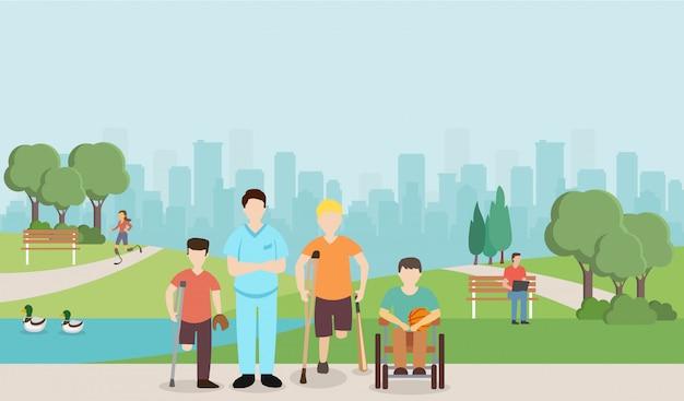Médecin avec enfants handicapés dans le parc.