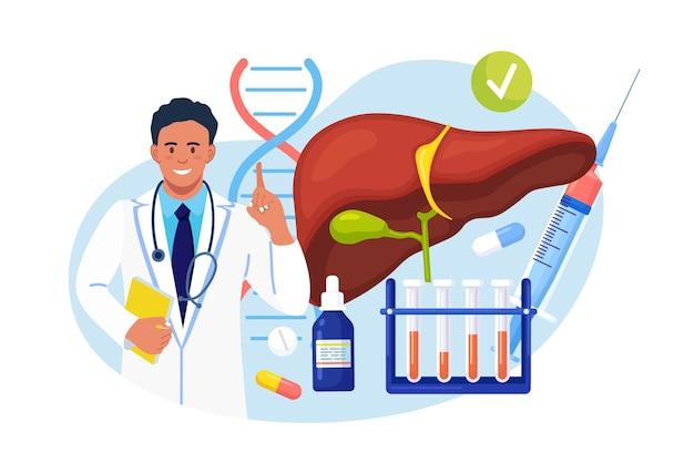 Médecin examinant le foie humain pour l'hépatite, le cancer, la cirrhose. médecin près des échantillons de sang et des pilules de laboratoire. recherche, diagnostic et traitement en laboratoire médical de l'organe interne