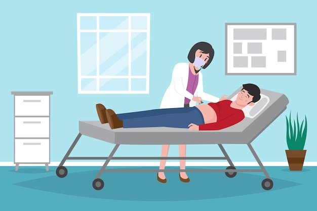 Médecin examinant un patient à la clinique