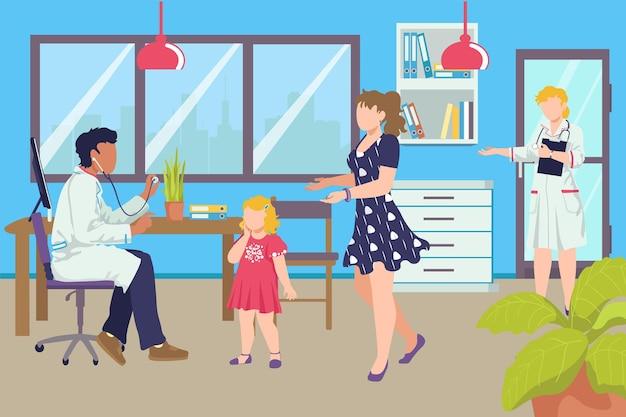 Médecin examine enfant fille avec le personnage de la femme mère à l'hôpital, visite du pédiatre