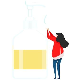 Le médecin examine la femme désinfecte les mains, le désinfectant pour les mains, le désinfectant, le savon pour les mains, le traitement des bactéries et des germes pour les mains, une bouteille isotherme avec dégraissant pour les mains. illustration vectorielle