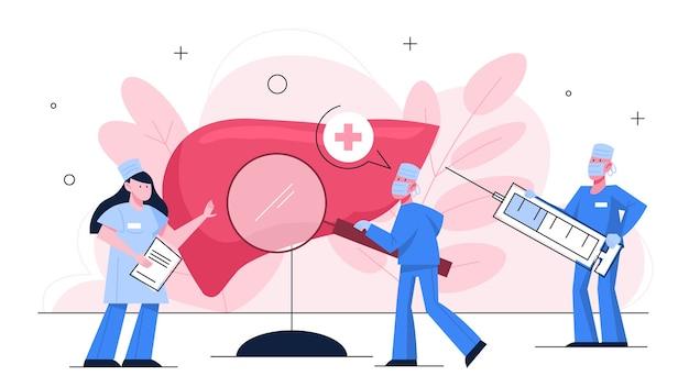 Le médecin fait le concept d'examen du foie. idée de santé corporelle et de traitement médical. anatomie humaine.