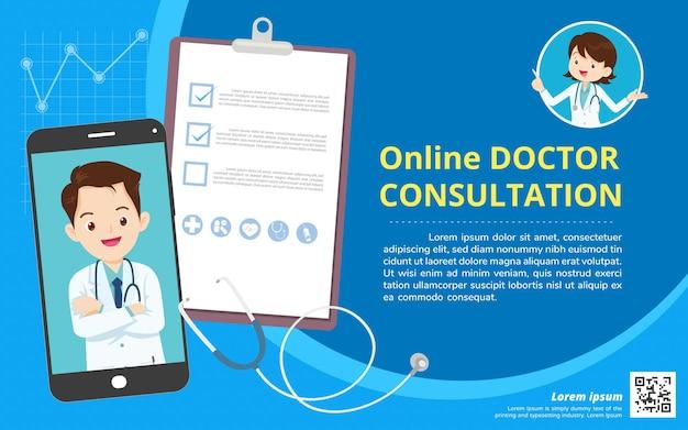 Médecin de famille de l'application mobile. famille utilisant une application mobile,