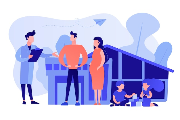 Médecin de famille avec mari, femme enceinte et enfants qui jouent. médecin de famille, médecine familiale, concept de soins de santé primaires. illustration isolée de vecteur bleu corail rose