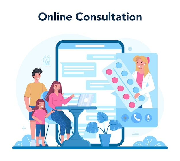 Médecin de famille et service ou plateforme en ligne de soins de santé généraux.